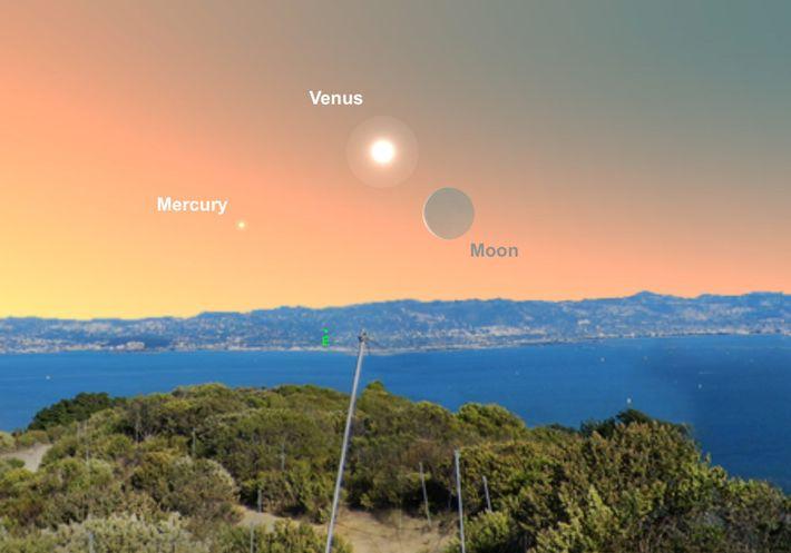 Buscá a Venus cerca de la luna creciente en la madrugada del 2 de mayo.