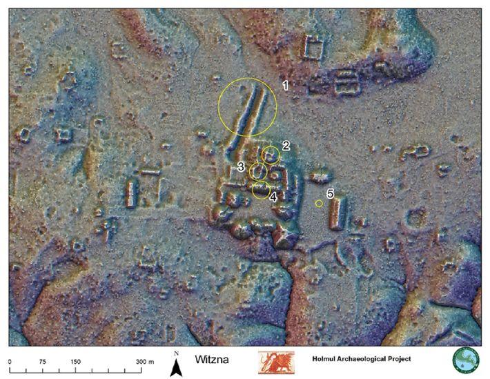 Un mapa LIDAR muestra el centro de ceremonias de la antigua ciudad maya de Witzna (hoy ...