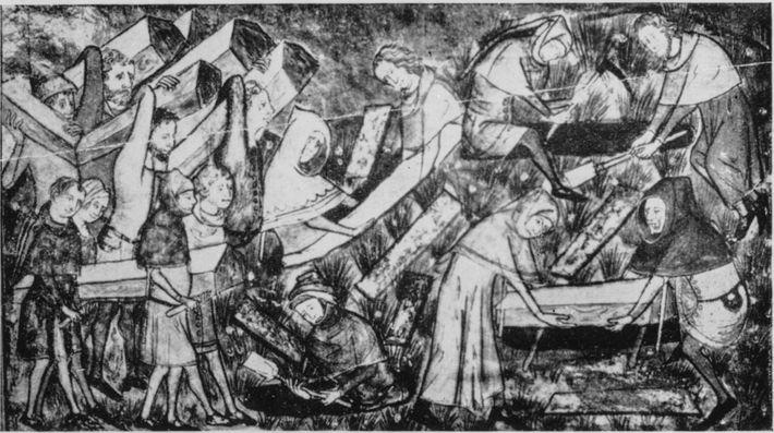 Un dibujo del siglo XIV representa el entierro de las víctimas de la peste. Los cuentos ...