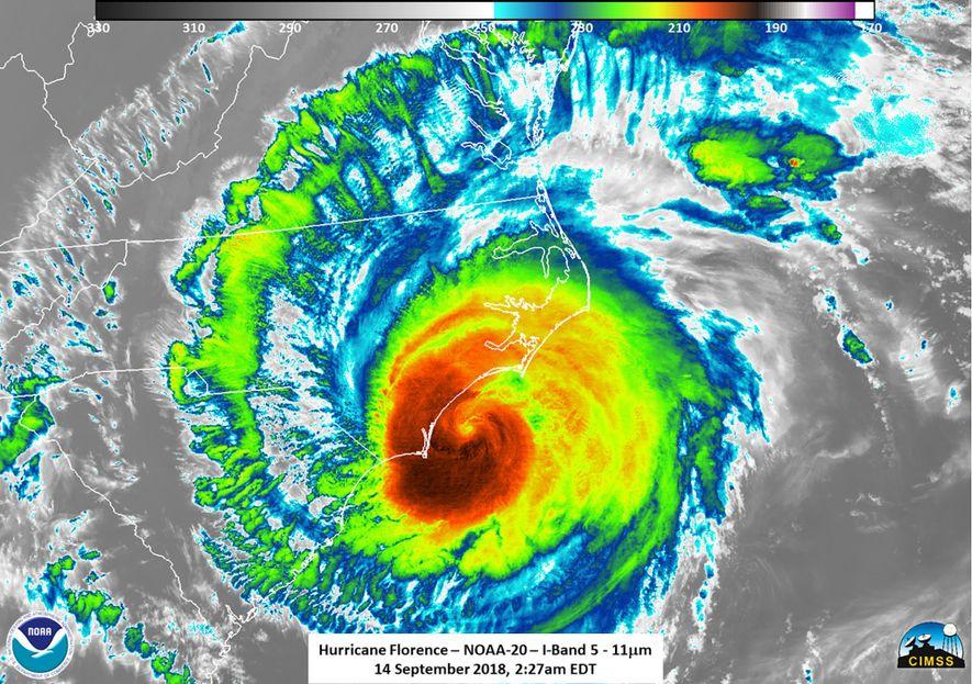 El instrumento VIIRS del NOAA-20 captura en infrarrojo al huracán Florence el 14 de septiembre de ...