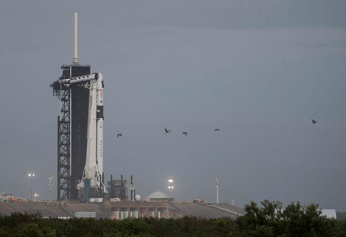 Un cohete Falcon 9 de SpaceX con la nave Crew Dragon sobre la plataforma de lanzamiento ...