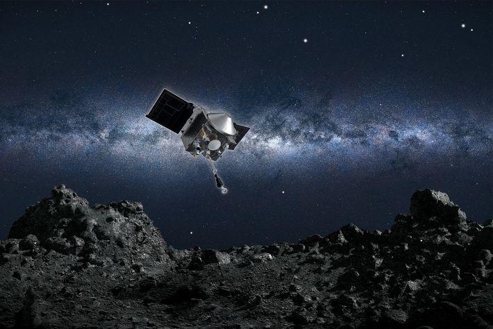 Concepción artística (ilustración) de la nave espacial OSIRIS-REx de la NASA a punto de recolectar una muestra ...