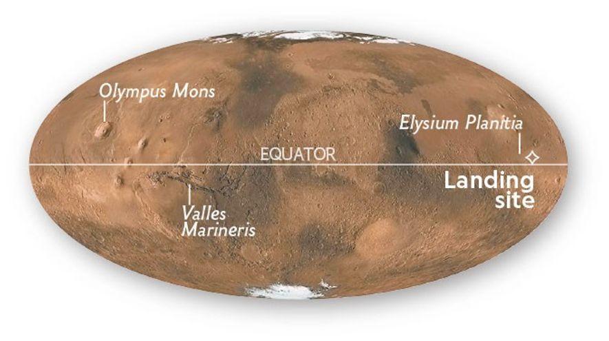 InSight ha aterrizado en Elysium Planitia, cerca del ecuador marciano.
