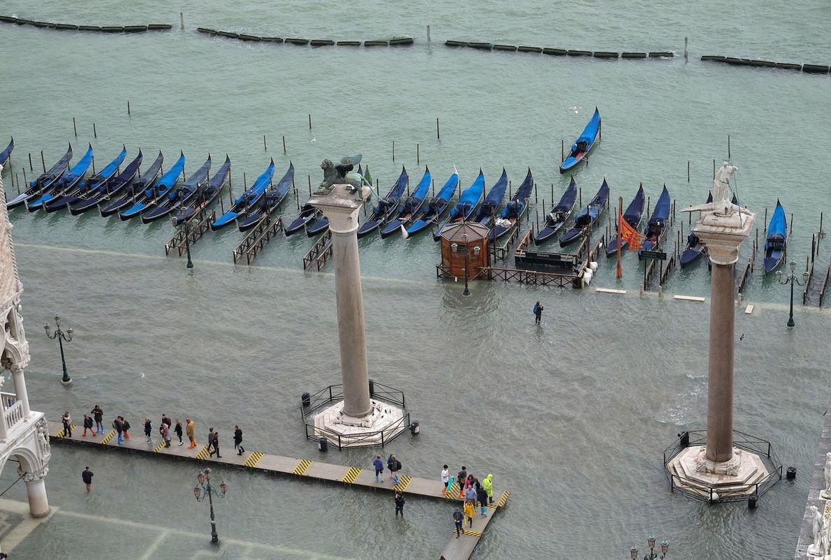 Plaza de San Marcos bajo el agua.