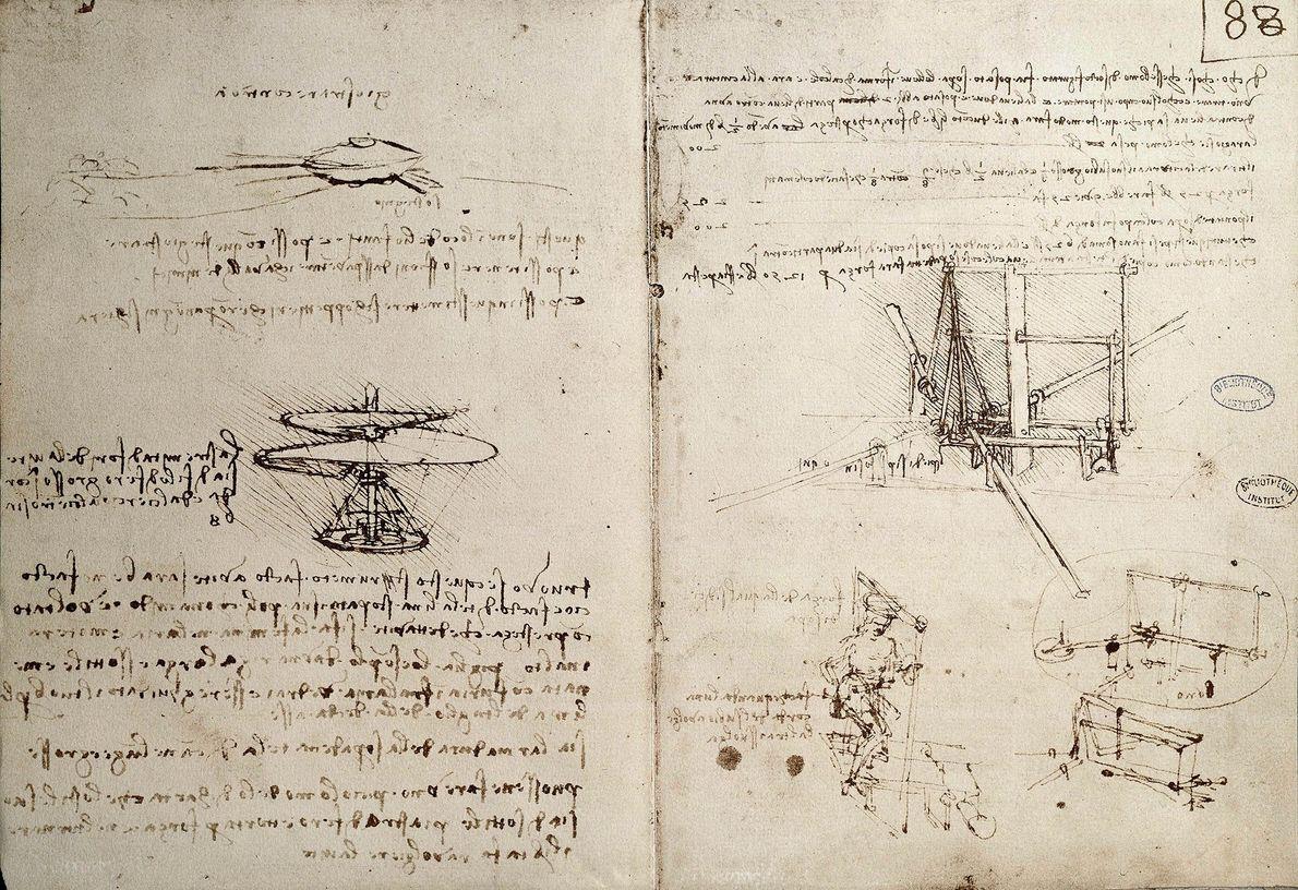 Leonardo da Vinci llenó sus cuadernos con bocetos de inventos, incluidas máquinas voladoras.