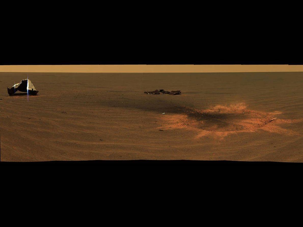 Lugar donde colisionó el escudo térmico del Opportunity, rover de la NASA en Marte.