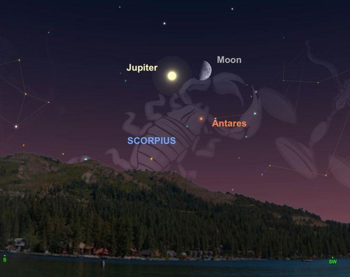 El 5 de septiembre, la Luna formará un triángulo encantador con Júpiter y la estrella Antares ...