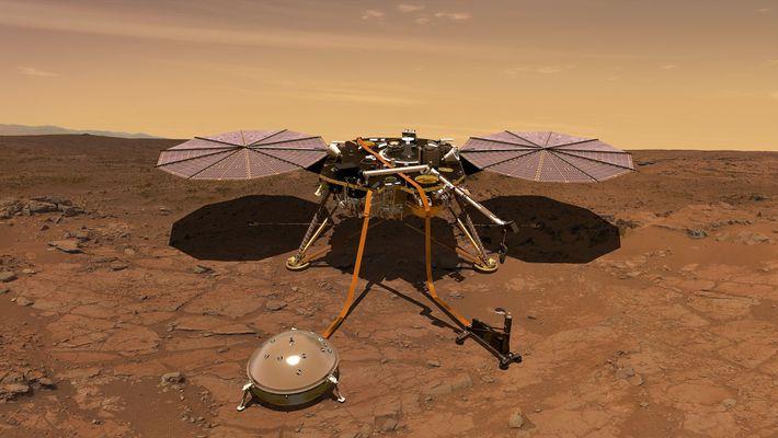 Una ilustración muestra el aspecto que tendrá la nave InSight cuando aterrice en Marte.