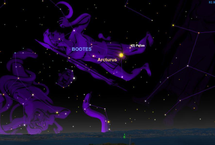 El gran asteroide 2 Pallas estará en su punto más brillante en nuestros cielos el 9 ...