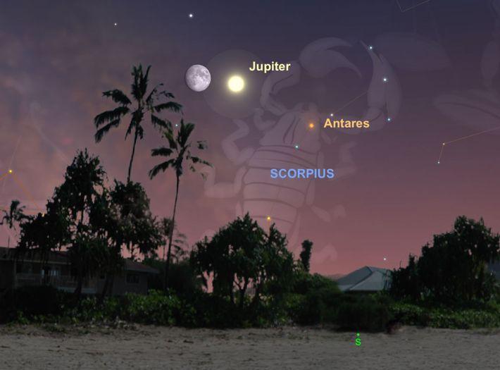 La luna se alineará a Júpiter el 13 de julio.