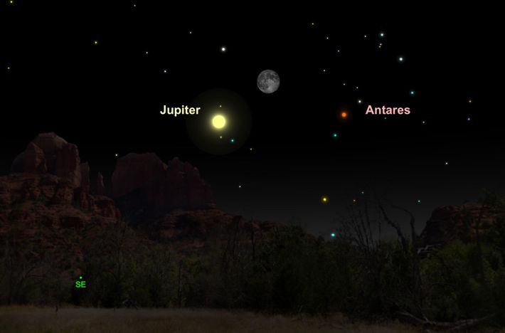 El brillante Júpiter se alineará con la luna gibosa menguante el 20 de mayo.