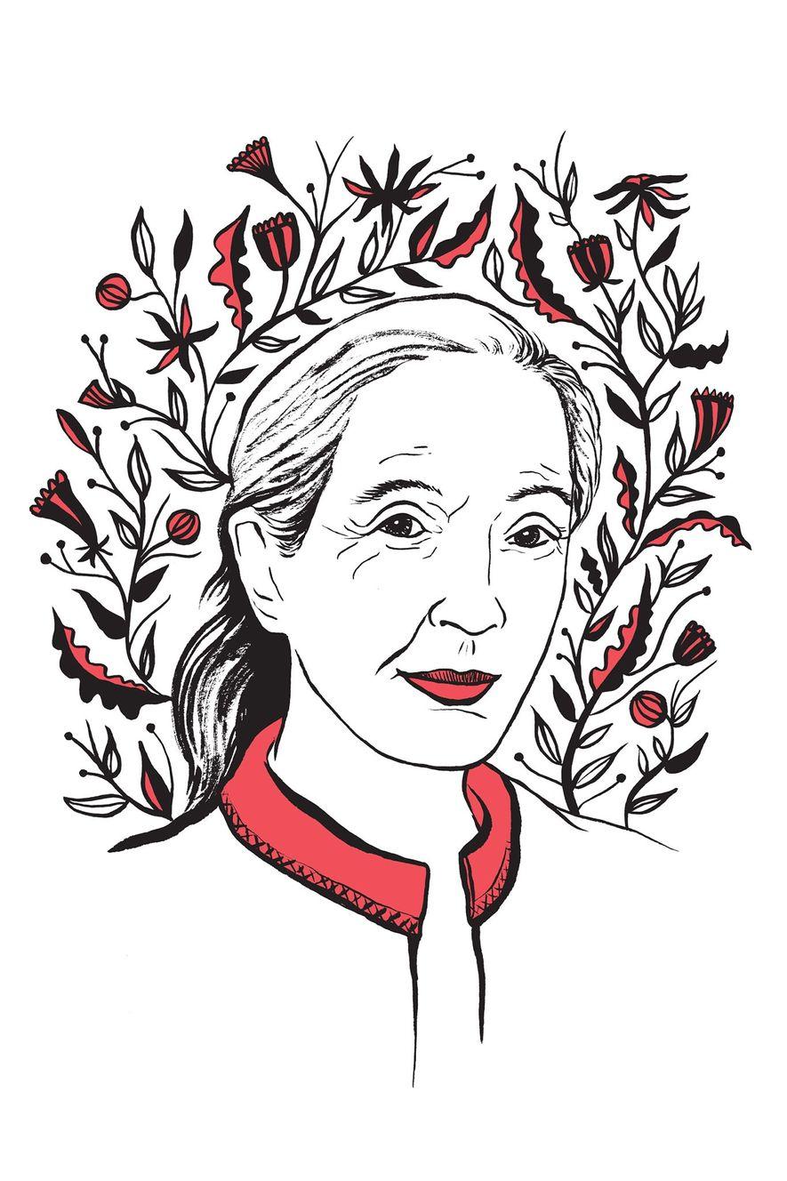 Ilustración de Jane Goodall realizada por Kimberly Glyder para el libro In Praise of Difficult Women ...
