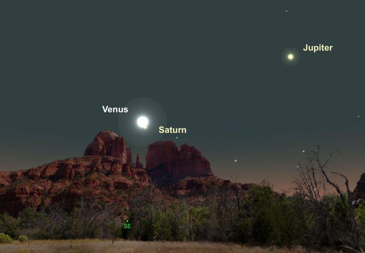 Dos de los planetas más brillantes, Venus y Saturno, estarán especialmente cerca en el cielo el ...