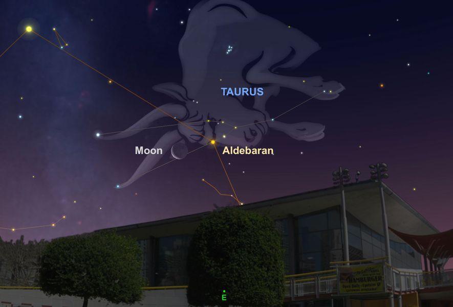 Busca a la luna cerca de la estrella brillante Aldebaran en las primeras horas del 28 ...