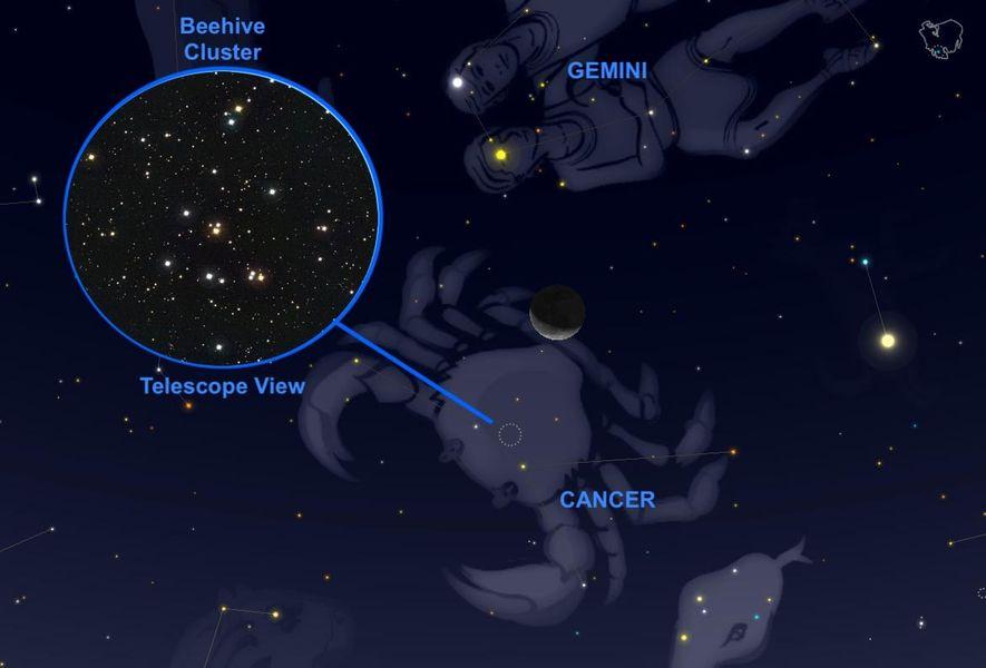 El 24 de septiembre, la luna creciente rozará el cúmulo estelar del Pesebre en la constelación ...