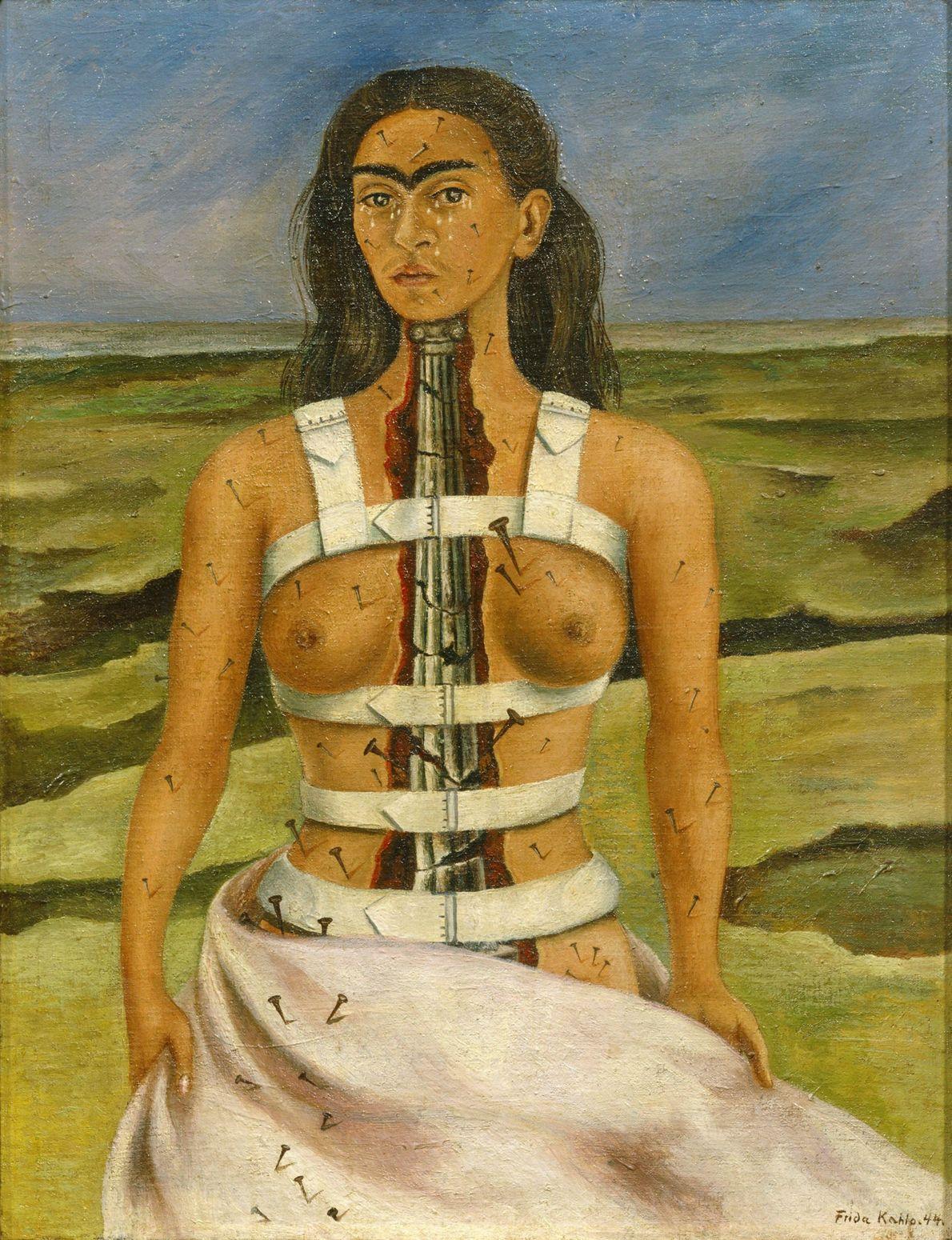 """En """"La columna rota"""", el pecho de Kahlo está partido al medio y revela una columna ..."""
