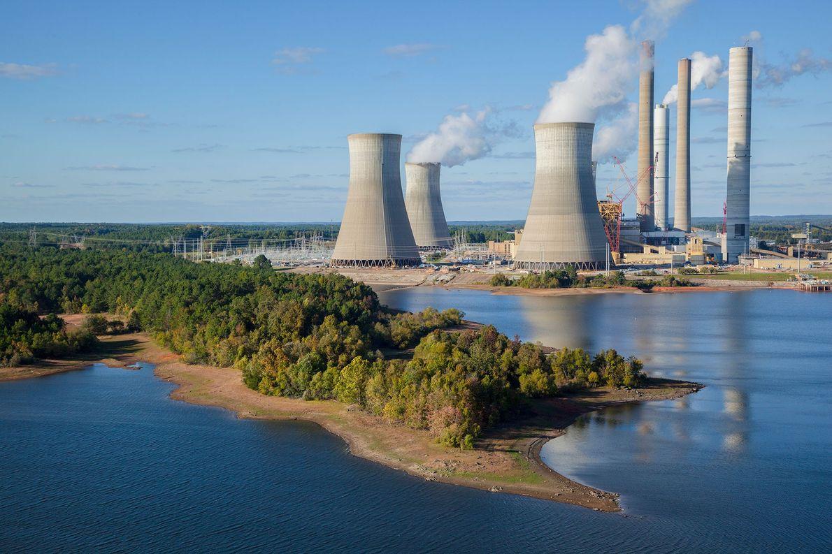 La planta de energía Scherer en Juliet, Georgia, es la planta de energía a carbón más ...