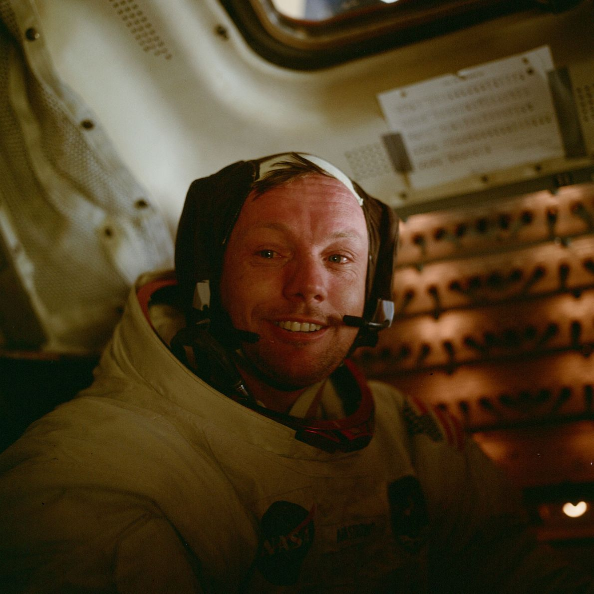 Apollo 11 astronaut Neil Armstrong in the lunar module shortly after taking the first steps on …
