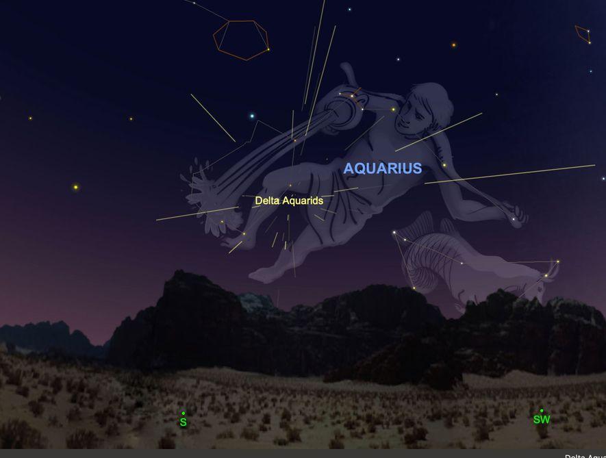 La lluvia de meteoros de Delta Acuáridas parecerá irradiar de su constelación del 28 al 30 ...
