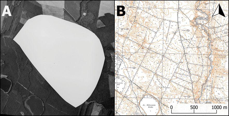 Izquierda: una fotografía aérea censurada de 1975 de la base militar nuclear en Podborsko. Derecha: un ...