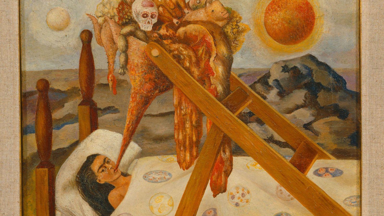 """En respuesta a la forma en que la obligaban a alimentarse, Kahlo pintó """"Sin esperanza"""", en ..."""