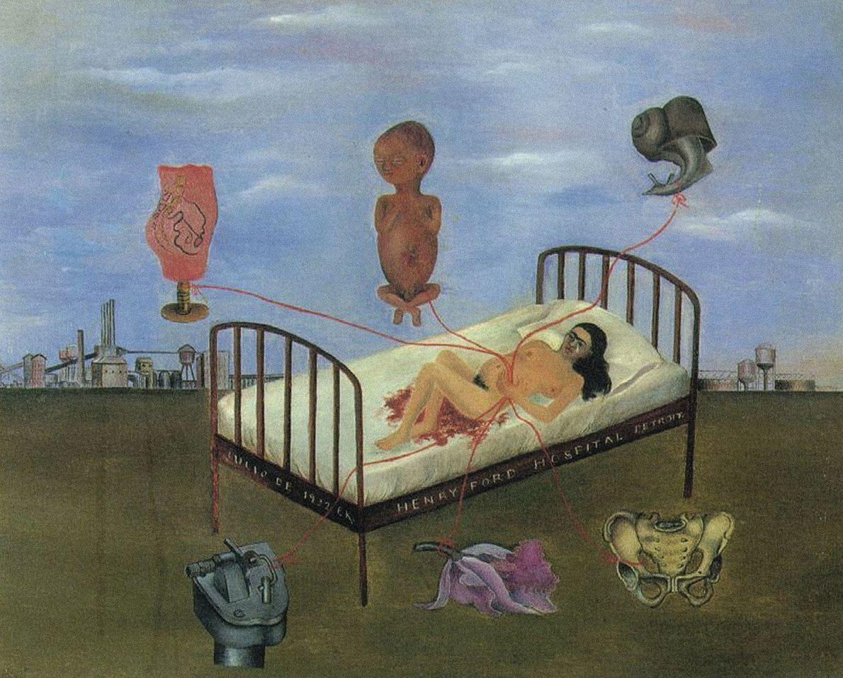 Después de un aborto espontáneo en 1932, Kahlo se pintó a sí misma en una cama ...