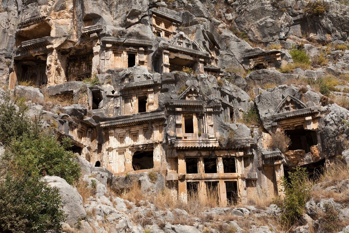 Demre, Turquía Con el fin servir como casas elaboradas para la vida después de la muerte, las ...