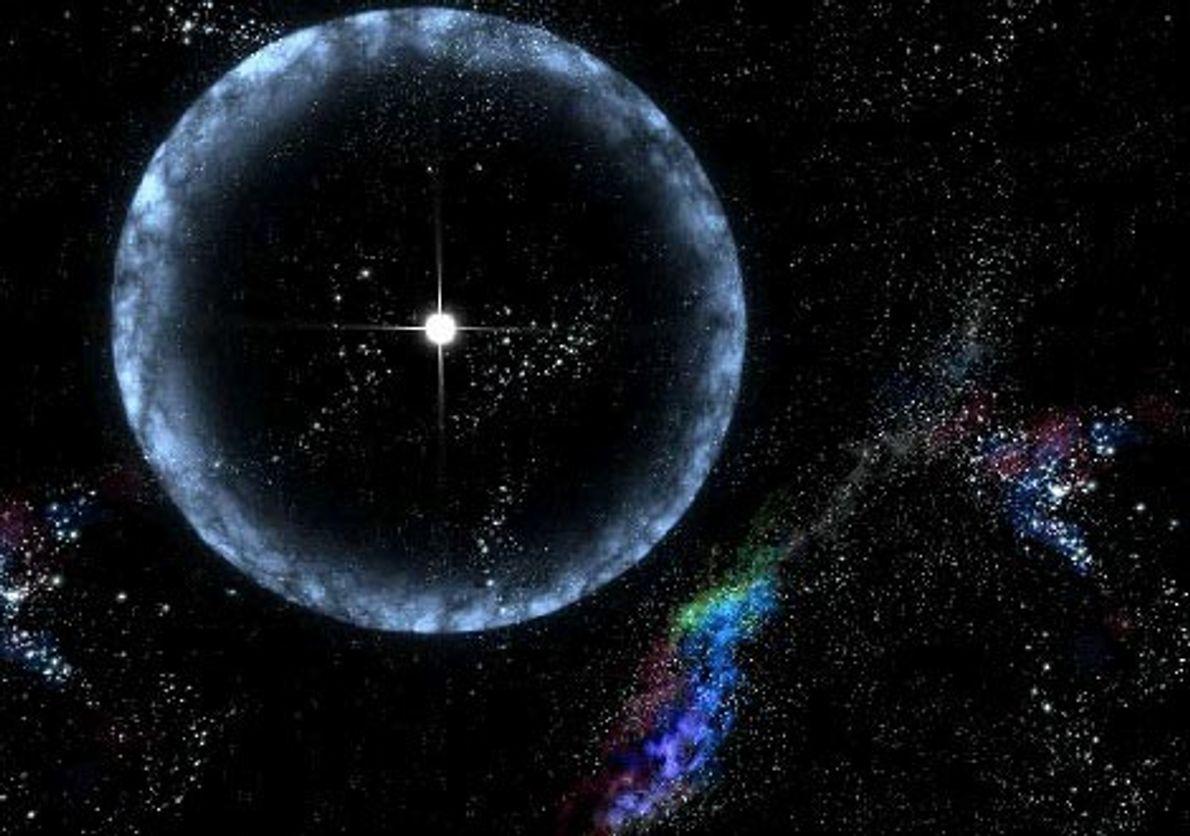 ESTRELLA DE NEUTRONES - La idea de un artista muestra una estrella de neutrones (ubicada a ...