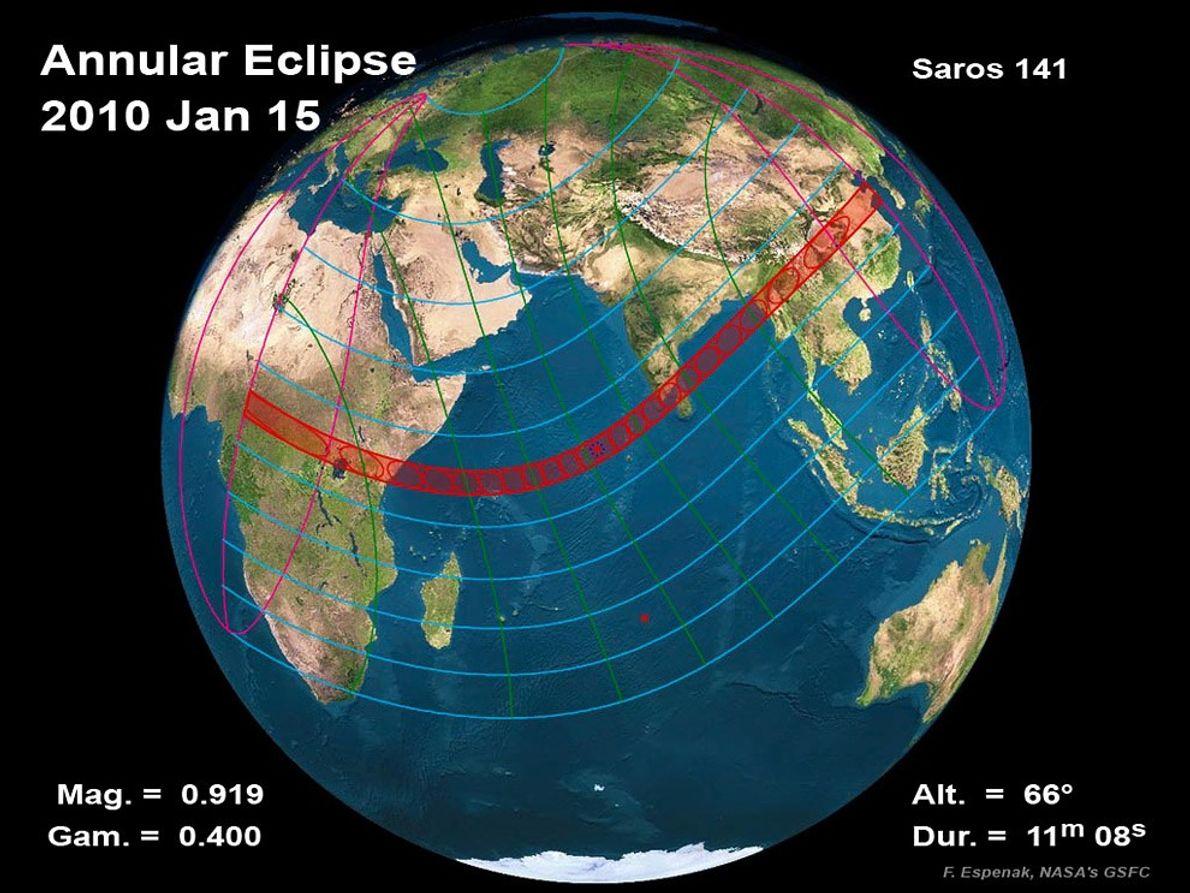 CAMINO DEL ECLIPSE Mostrado en una ilustración de la NASA, el eclipse anular completo del 15 de …