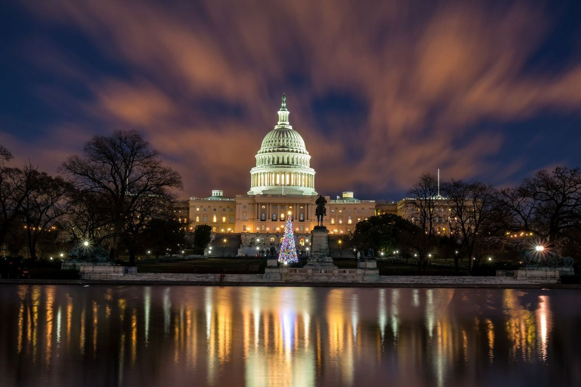 En Washington, D. C., el Capitolio y su árbol de Navidad se reflejan en el espejo ...