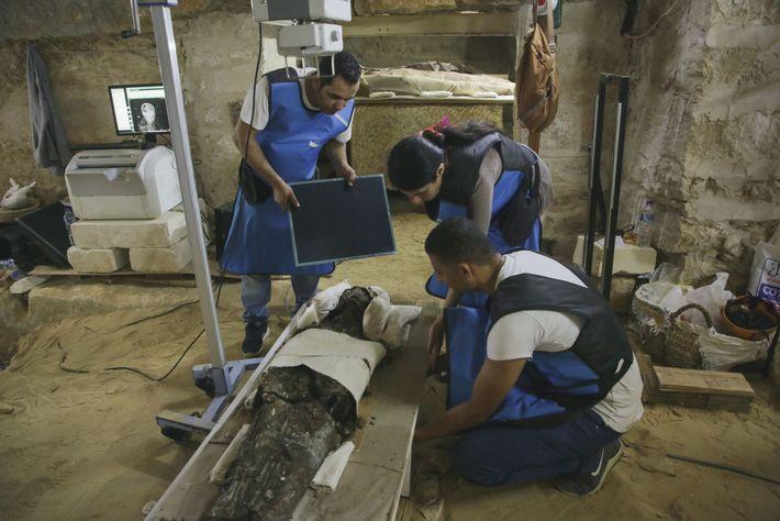 La paleorradióloga Sahar Saleem (entre los dos técnicos) usa una unidad de rayos X para revelar ...