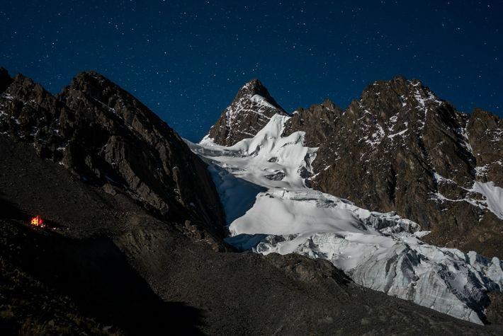 El glaciar Colque Punku en el valle Sinakara, Perú.
