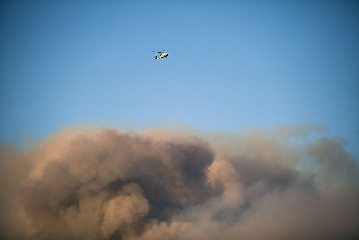 Un helicóptero vuela sobre el humo del incendio de Woolsey cerca de Thousand Oaks, California, el ...