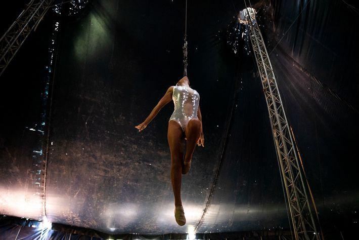 Leticia Nájera vuela encima del escenario, suspendida solo de sus dientes. Solo algunos pocos intérpretes del ...