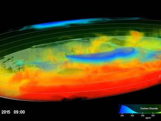 Observa cómo el CO2 que calienta el planeta se mueve en la atmósfera terrestre