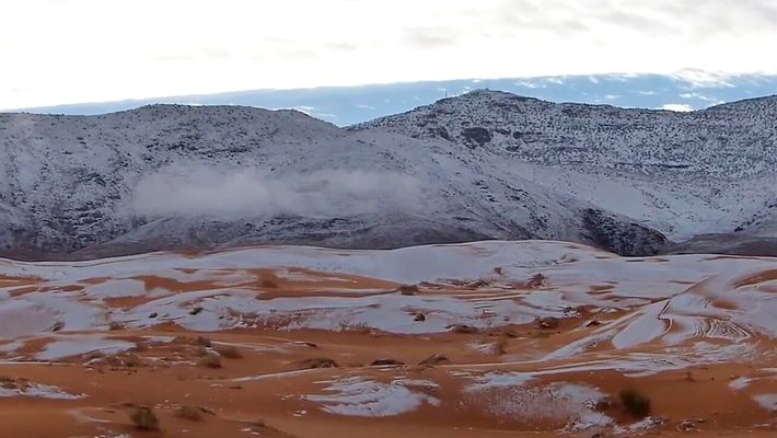 Recuerda la rara nieve en el desierto más caluroso del mundo