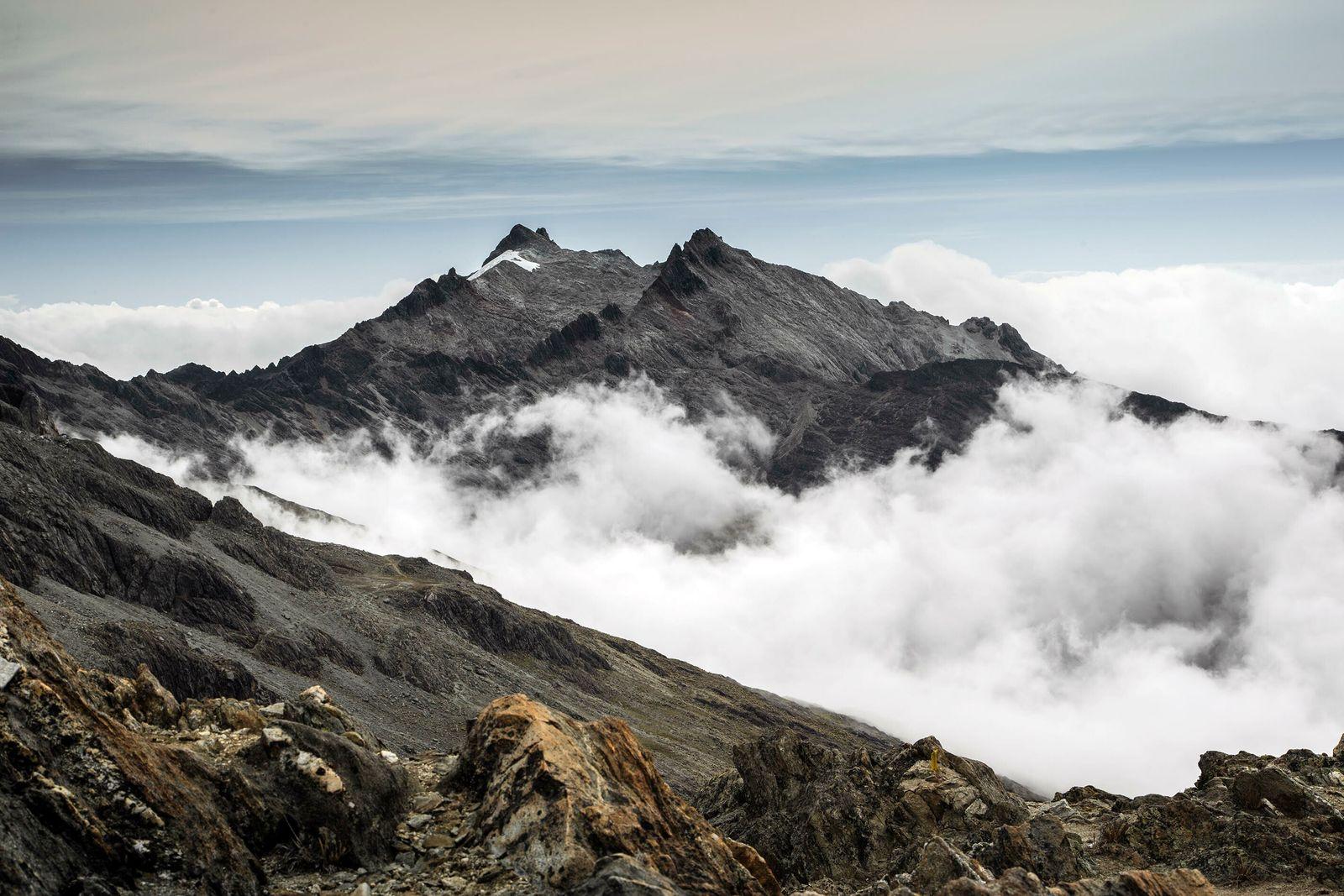 Vista de la cobertura glaciar en los Picos Humboldt y Bonpland vistos desde el Pico Espejo ...