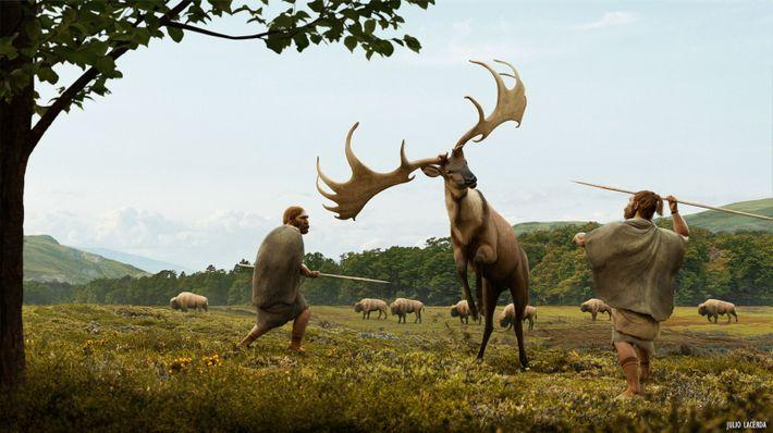 Recreación artística de una cacería de Megaloceros giganteus. Estos ciervos gigantes, que podían llegar a medir dos metros ...