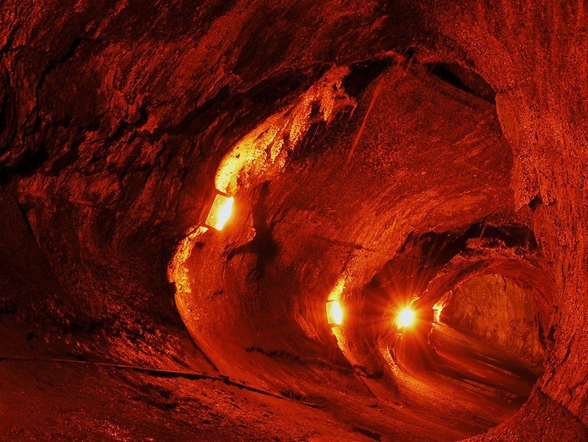 Las luces iluminan el tubo de lava Thurston en el Hawaii Volcanoes National Park (Parque Nacional ...