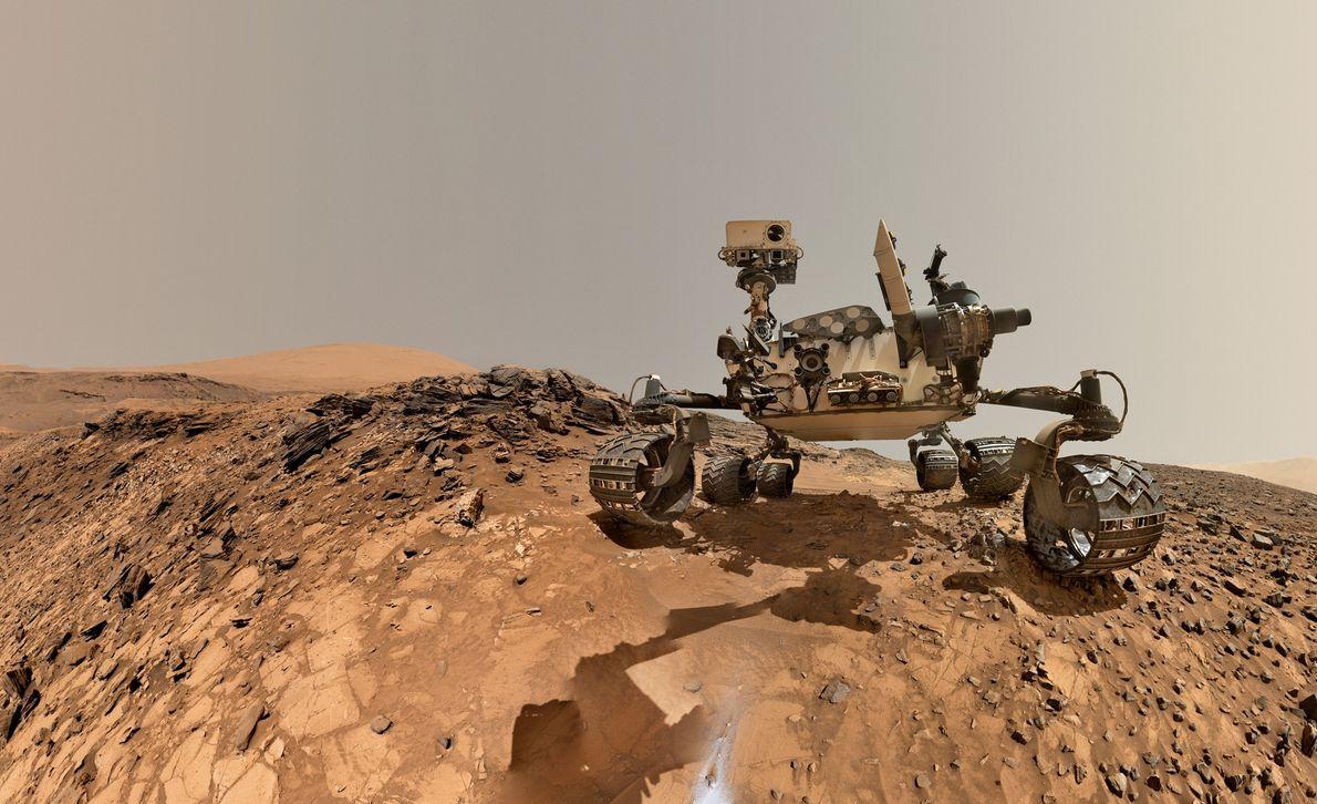 Este autorretrato del Curiosity Rover de la NASA muestra el vehículo en el sitio donde perforó ...