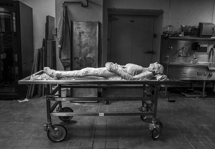El cuerpo de Susan Potter, encerrado en alcohol de polivinilo, espera a que lo congelen tras ...