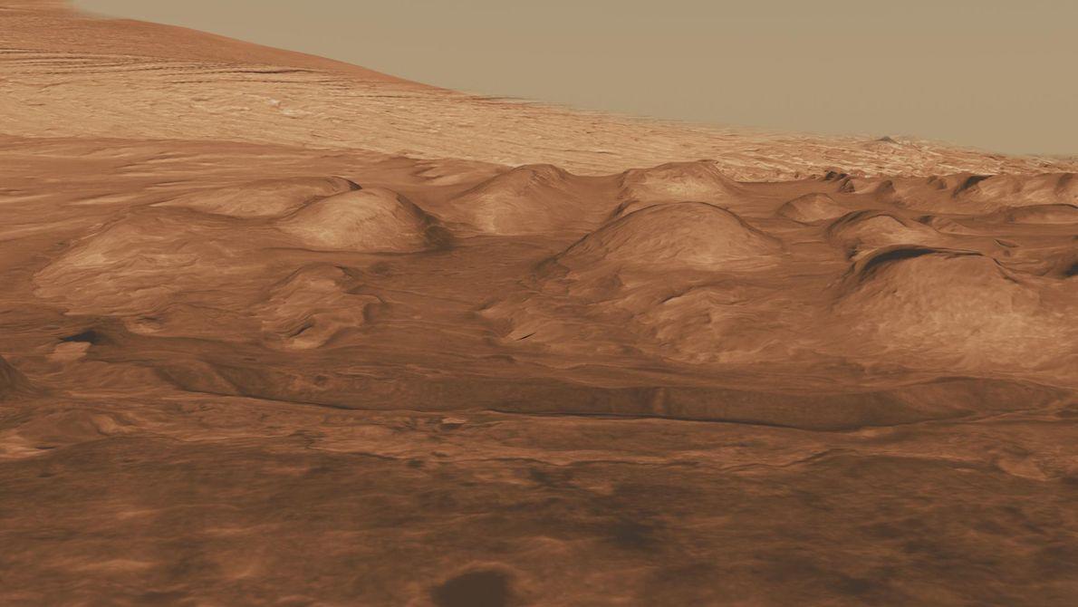 En este sitio en el monte inferior del cráter Gale, los dispositivos orbitales han detectado señales ...