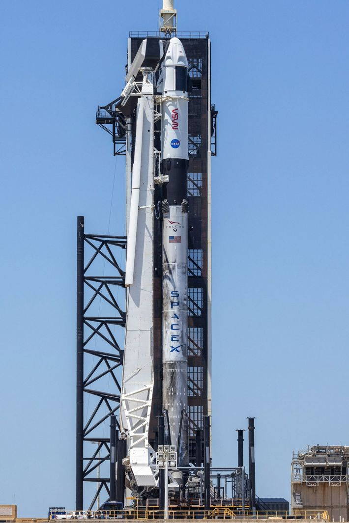 SpaceX Crew-2 rocket on the launchpad