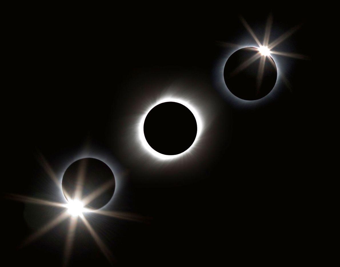 Una fotografía compuesta sacada desde un crucero cerca de Iwo Jima retrata un eclipse de 2009 …