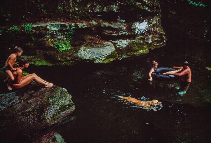 Los turistas nadan con su perro en el río Neversink en las montañas Catskill en Nueva ...