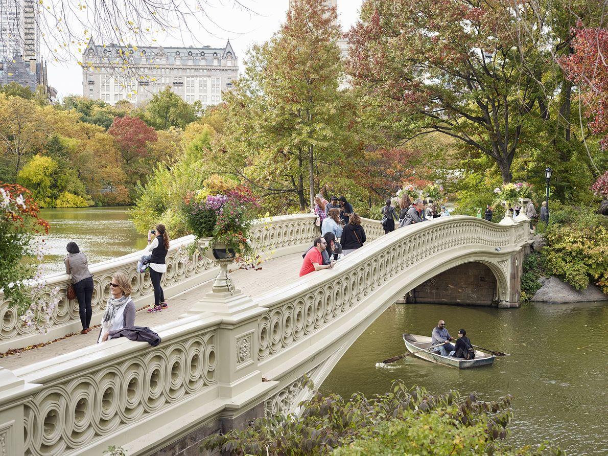 Los peatones cruzan el puente Bow de Central Park en la ciudad de Nueva York: casi ...