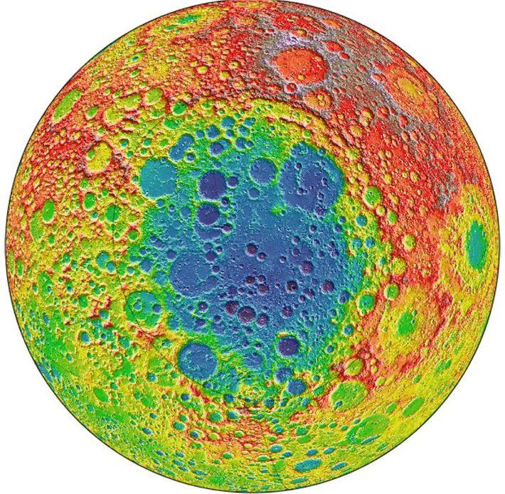 Esta imagen del Lunar Reconnaissance Orbiter de la NASA se centra en la cuenca Aitken-Polo Sur, ...