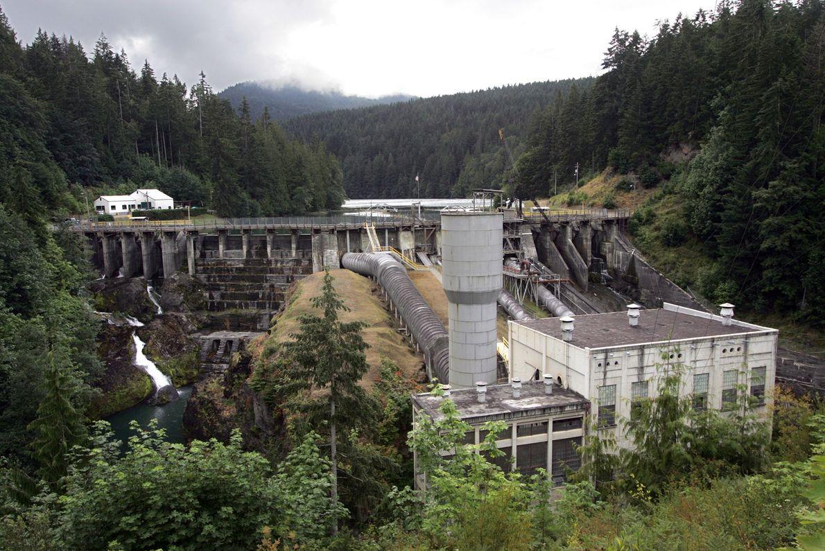 Las presas que bloquean el río Elwha de Washington, como la presa Elwha, fueron retiradas en ...