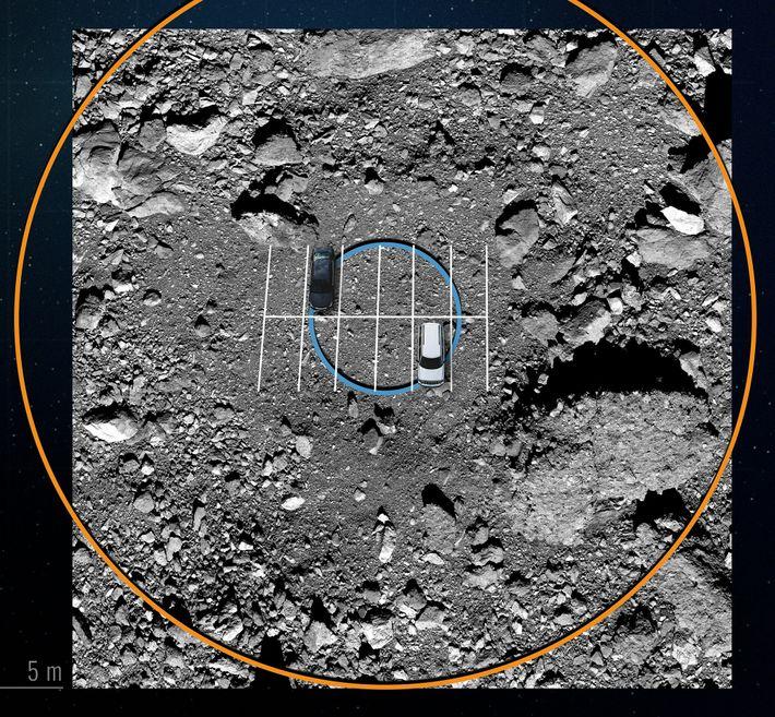 Guiada por un mapa digital, OSIRIS-REx volará entre rocas gigantes que rodean la zona de aterrizaje, haciendo ...