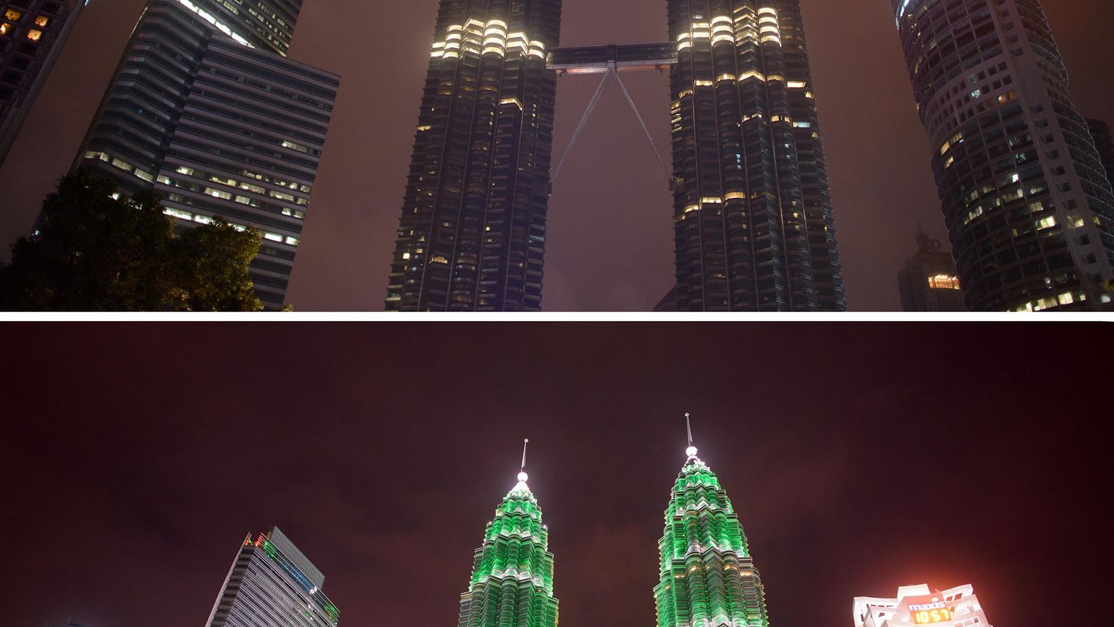 The Petronas Towers in Kuala Lumpur, Malaysia, are dark during Earth Hour (top); their usual bright ...